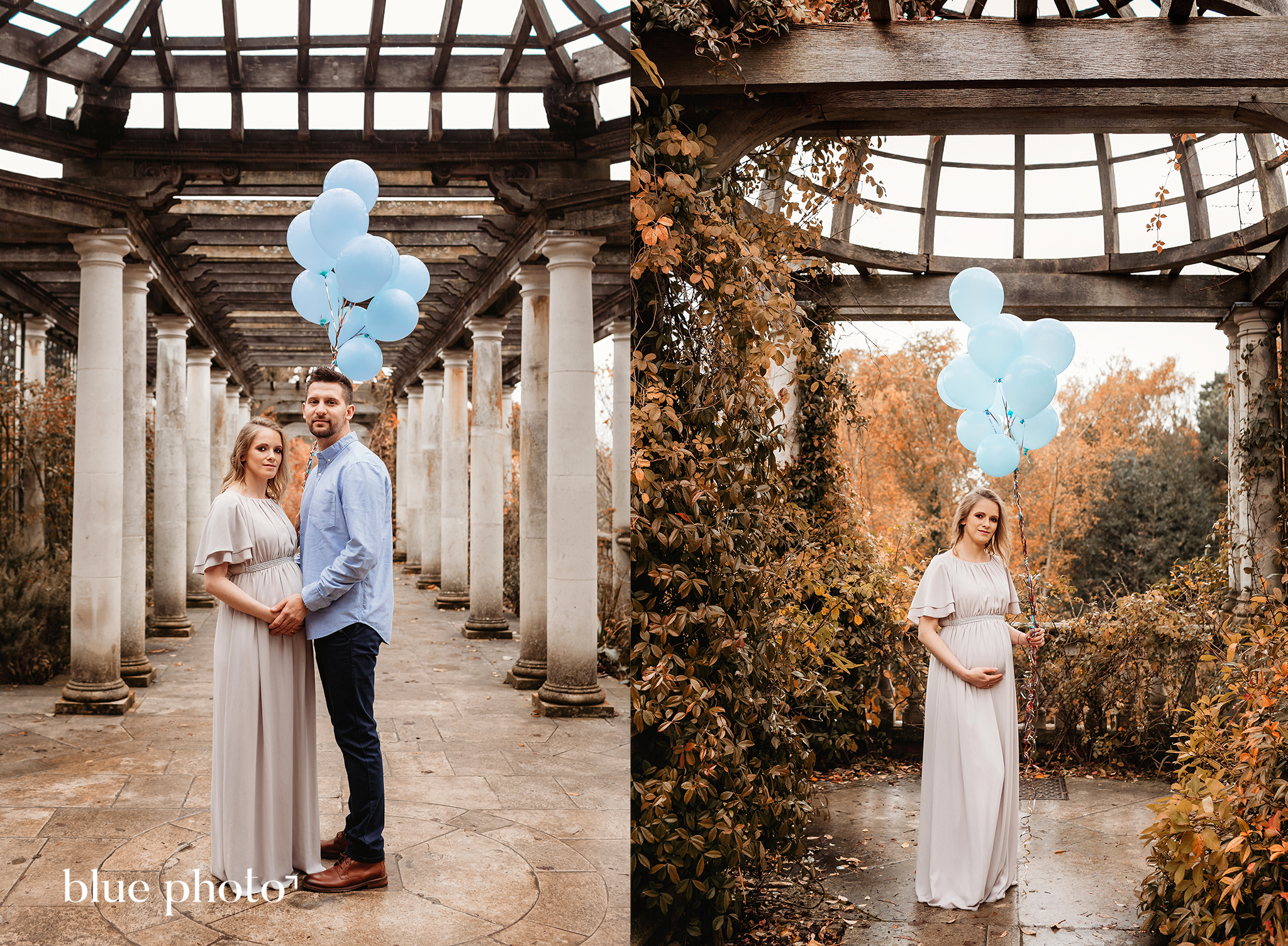 Dominika and her autumn maternity session at Hill Garden and Pergola, North London